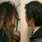 フリーフォームで普通の髪がドレッド化する過程。日本人の自作ドレッド。