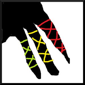 ドレッドを靴紐のような感じで紐で飾る様子 dreadlocks wrapping2