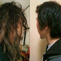 フリーフォームで普通の髪の毛がドレッド化する過程